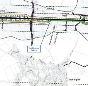 Noise prediction and measurement locations in east Cubbington (Source: HS2 Ltd)