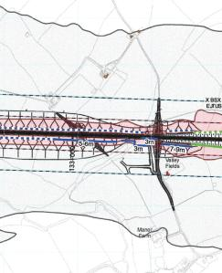 Proposed deployment of fence noise barriers on southern Leam valley earthwork (Source: HS2 Ltd)